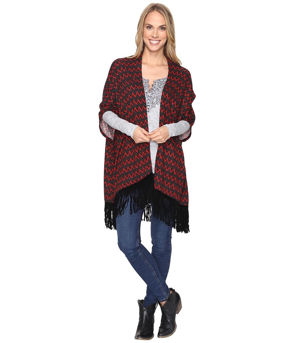 Roper - Gypsy Chevron Print Poncho (Red) Women's Coat