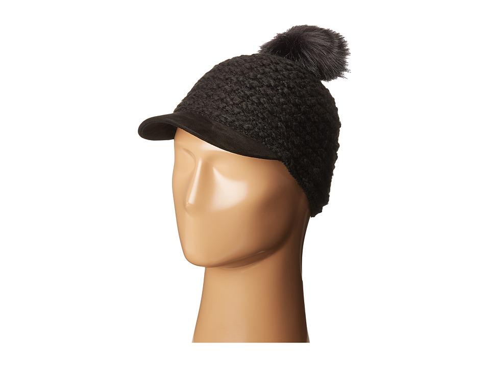 LAUREN Ralph Lauren - Textured Hat w/ Coyote Pom (Black) Snow Hats