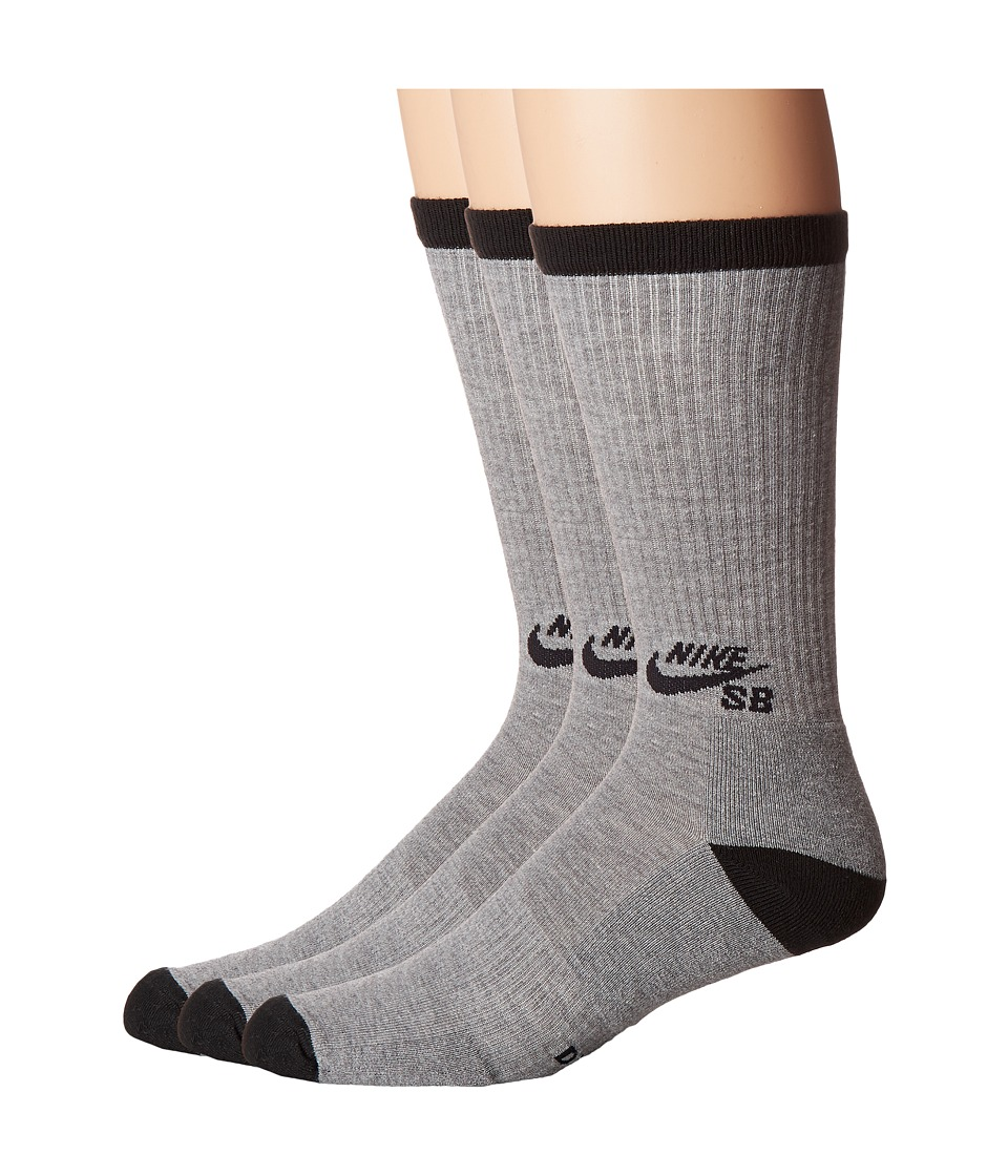 Nike SB - Crew Skateboarding Sock 3-Pack (Dark Grey Heather/Black) Men's Crew Cut Socks Shoes