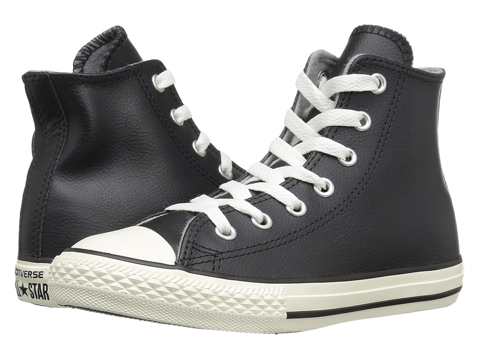 Converse Kids - Chuck Taylor All Star Leather Hi (Little Kid) (Black/Egret/Egret) Boys Shoes