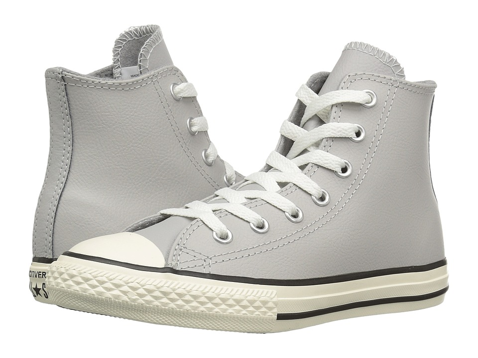 Converse Kids - Chuck Taylor All Star Leather Hi (Little Kid) (Ash Grey/Egret/Egret) Boys Shoes