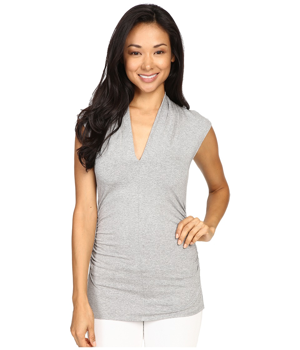 Vince Camuto - S/L Pleat V-Neck Top (Light Heather Grey 2) Women's Short Sleeve Pullover
