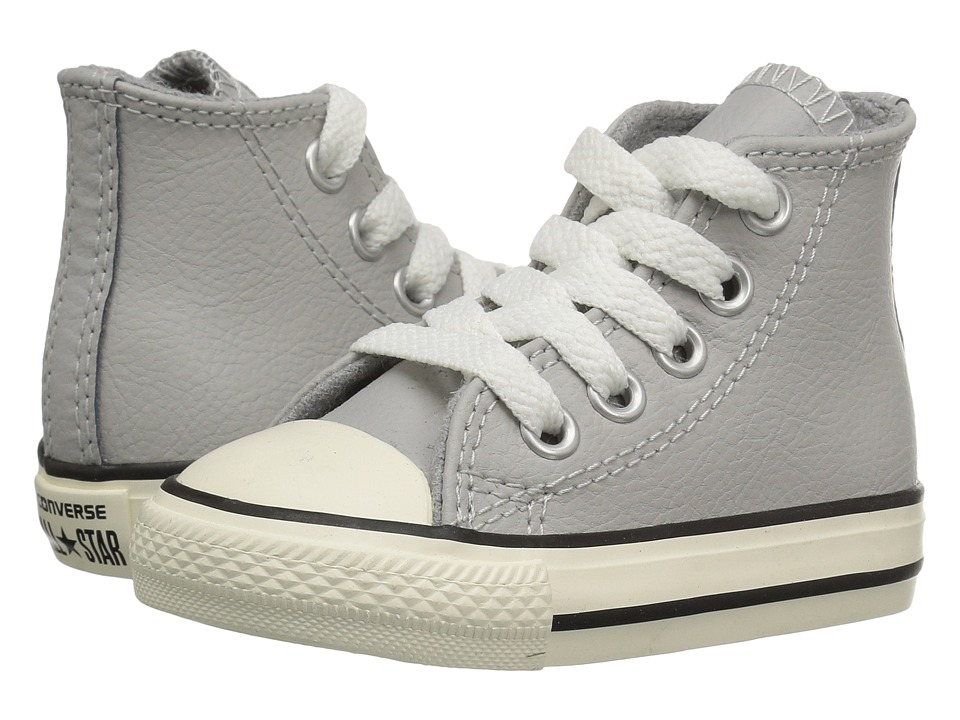 Converse Kids - Chuck Taylor All Star Leather Hi (Infant/Toddler) (Ash Grey/Egret/Egret) Boys Shoes