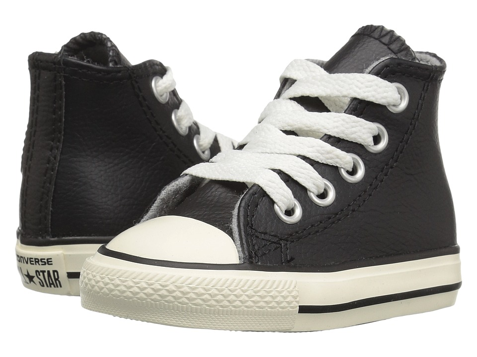 Converse Kids - Chuck Taylor All Star Leather Hi (Infant/Toddler) (Black/Egret/Egret) Boys Shoes