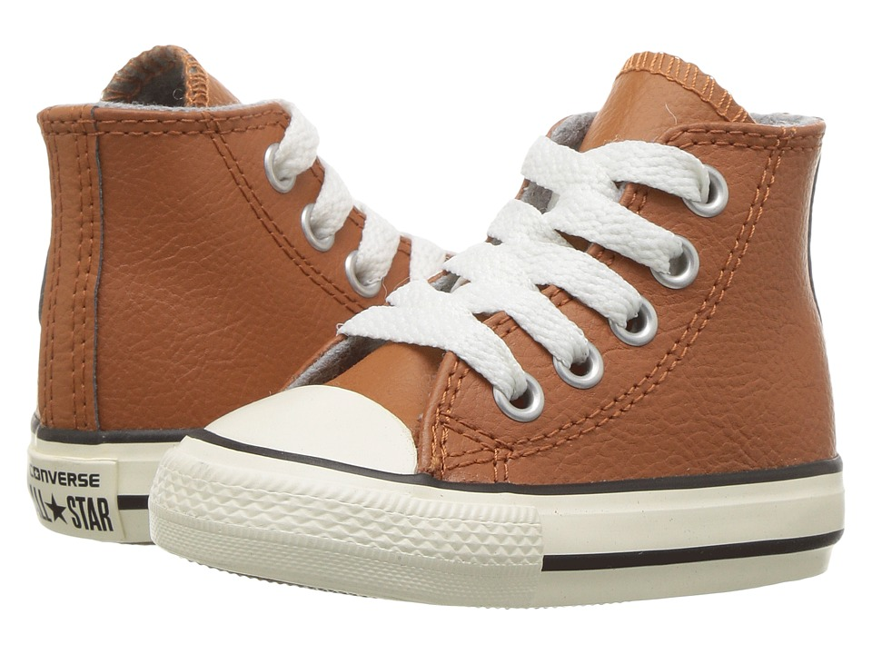Converse Kids - Chuck Taylor All Star Leather Hi (Infant/Toddler) (Antique Sepia/Egret/Egret) Boys Shoes