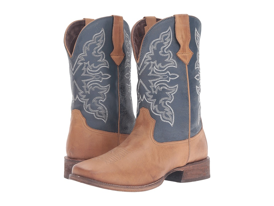 Roper - Rowdy (Tan Burnished Vamp/Blue Shaft) Cowboy Boots