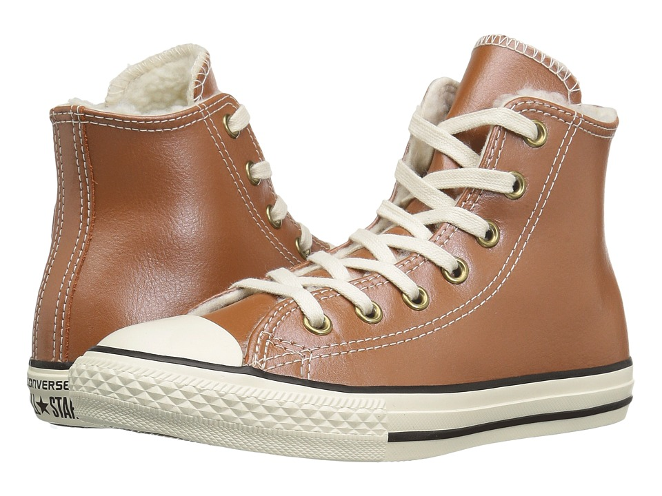 Converse Kids Chuck Taylor All Star Shearling Hi (Little Kid/Big Kid) (Antique Sepia/Parchment/Egret) Girls Shoes