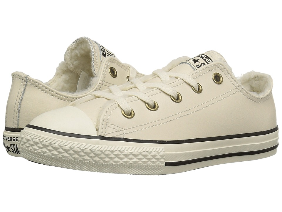Converse Kids Chuck Taylor All Star Shearling Ox (Little Kid/Big Kid) (Parchment/Parchment/Black) Girls Shoes