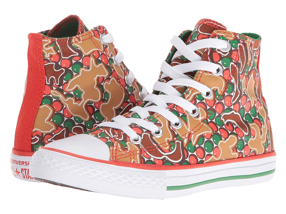 Converse Kids - Chuck Taylor All Star Gingerbread Hi (Little Kid/Big Kid) (Signal Red/Converse Green/White) Girl's Shoes
