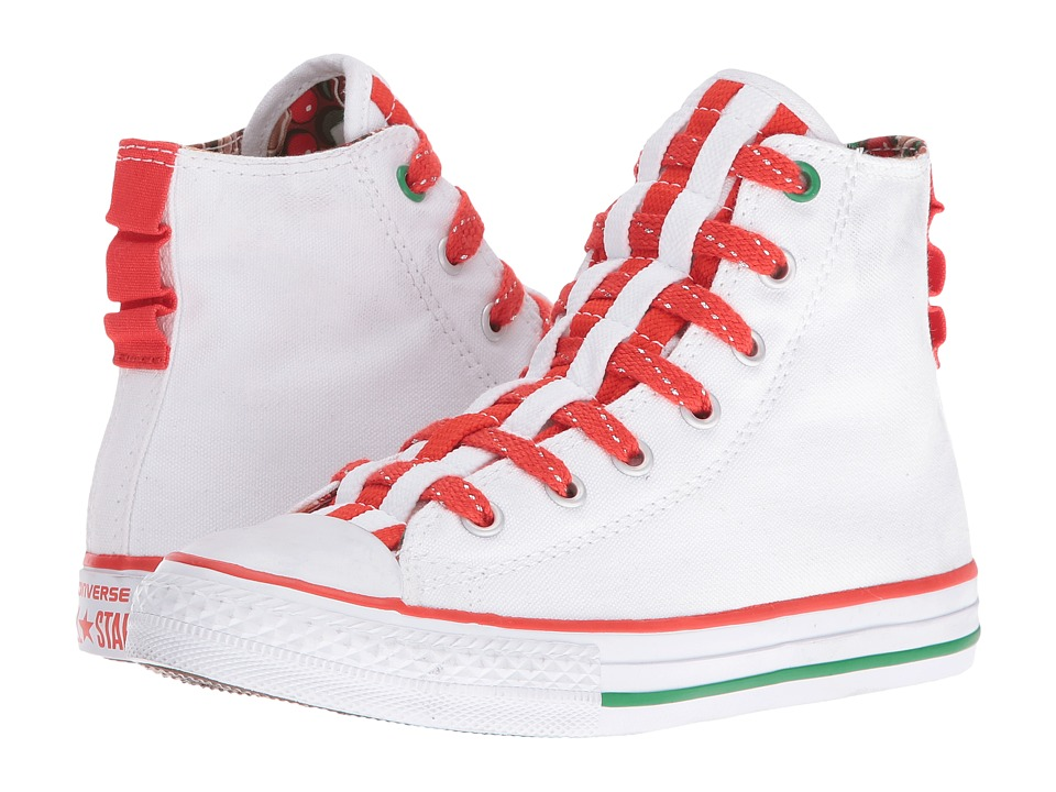 Converse Kids Chuck Taylor All Star Loopholes Hi (Little Kid/Big Kid) (White/Signal Red/White) Girl