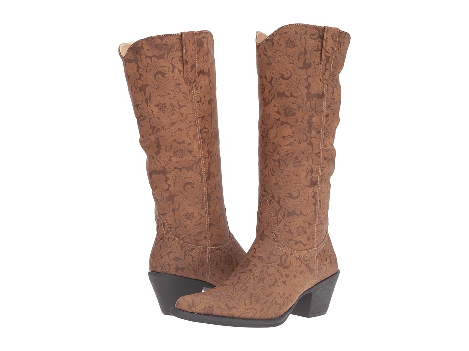 Roper Kristin (Tan Faux Leather Embossed) Cowboy Boots