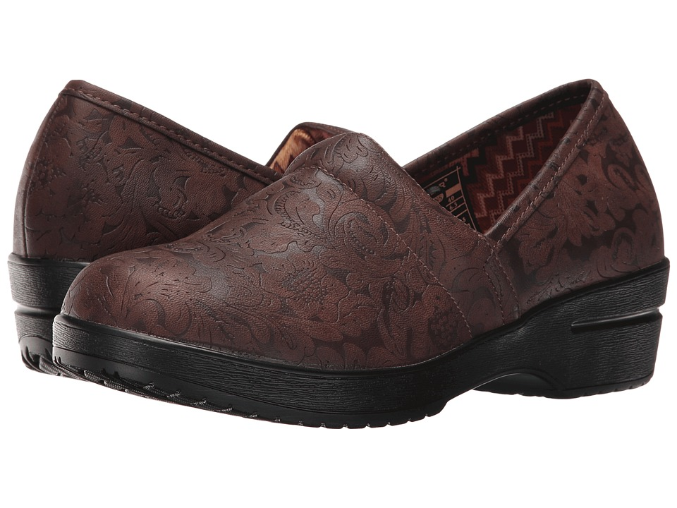 Roper - Claire (Brown Faux Leather Embossed) Women's Clog Shoes