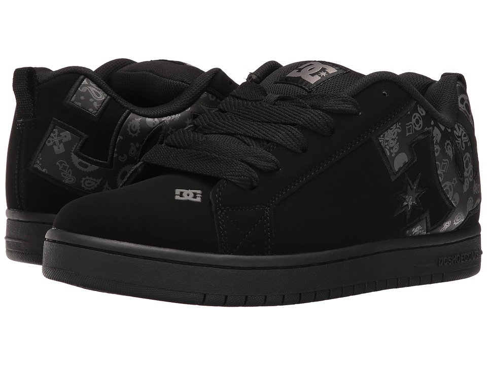 DC - Court Graffik SE (Black Print) Men's Skate Shoes