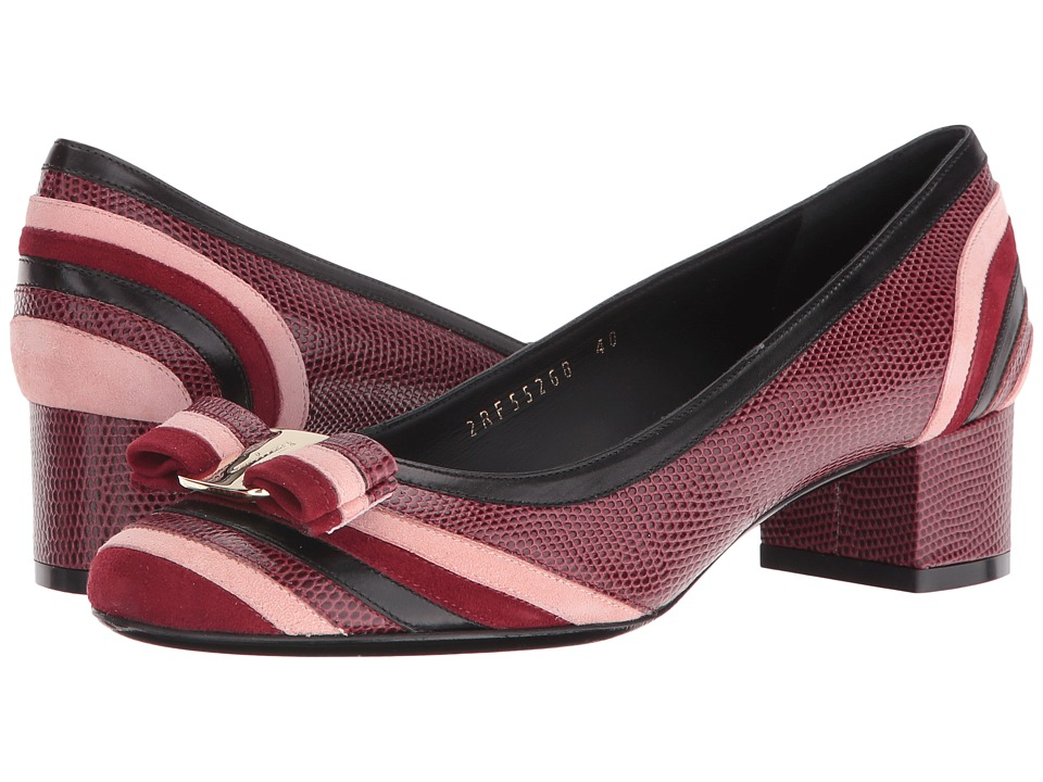 Salvatore Ferragamo Calfskin Low-Heel Pump (Nero/Opera/Opera) High Heels