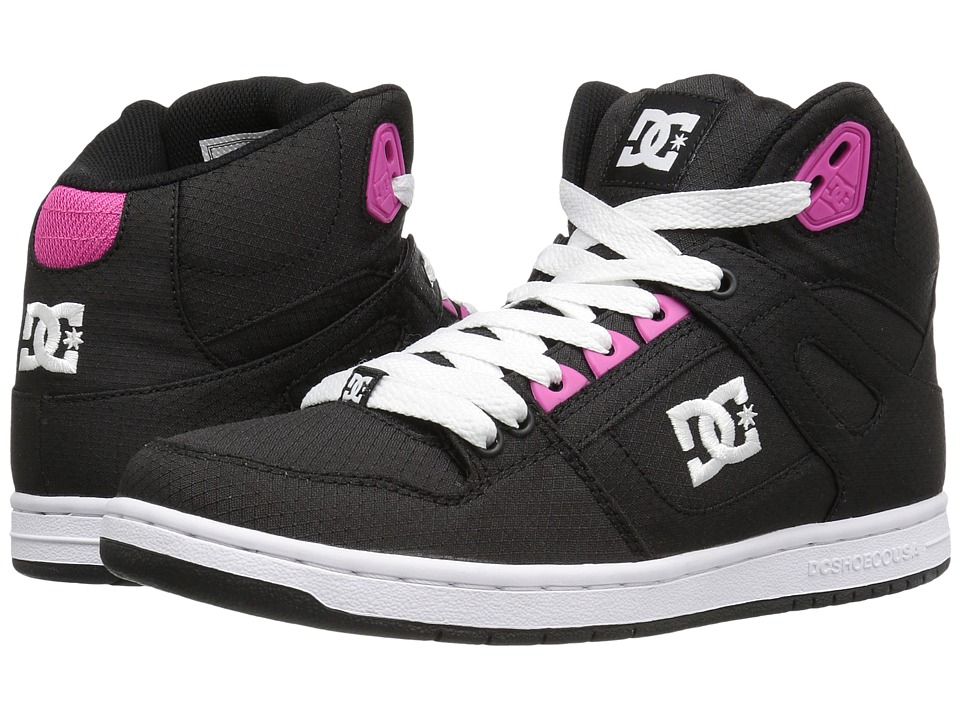 DC - Rebound High TX SE (Black/Fuchsia) Women's Skate Shoes