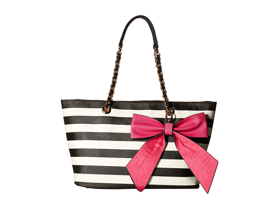 Gabriella Rocha - Dinah Tote with Bow (Black/White/Hot Pink) Tote Handbags