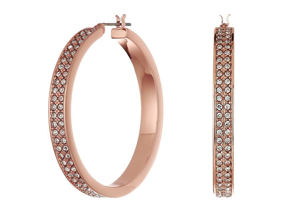 LAUREN Ralph Lauren - Rose Palais Large Pave Hoop Earrings (Crystal/Rose Gold) Earring