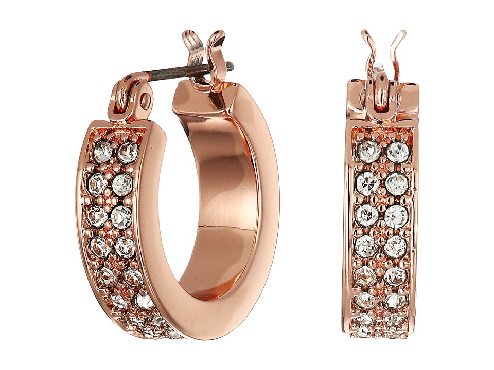 LAUREN Ralph Lauren - Rose Palais Small Pave Hoop Earrings (Crystal/Rose Gold) Earring