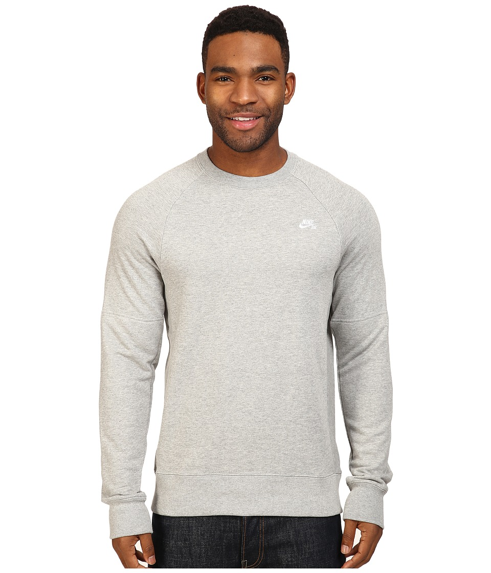 Nike SB - SB Everett Crew Top (Dark Grey Heather/White) Men's Long Sleeve Pullover