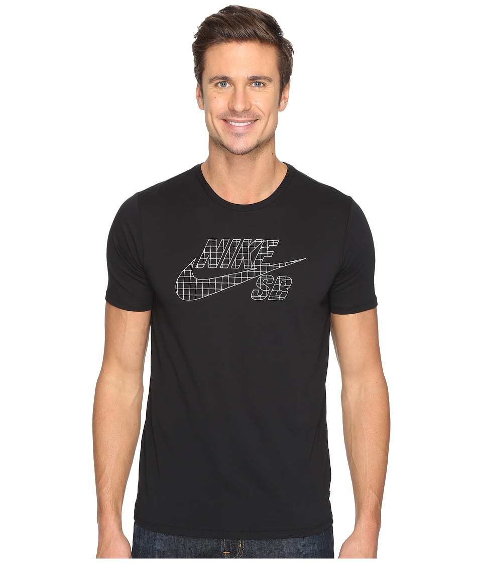 Nike SB - SB Icon Grid Skateboarding T-Shirt (Black/Metallic Silver) Men's T Shirt