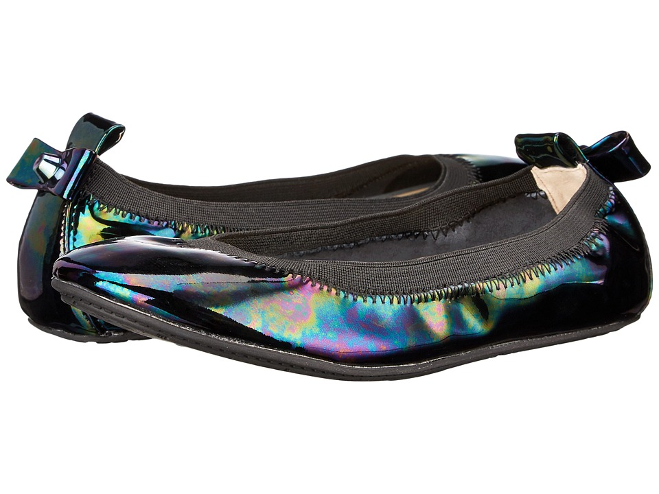 Yosi Samra Kids Selma Oil Slick Patent Leather Flat (Toddler/Little Kid/Big Kid) (Black) Girls Shoes