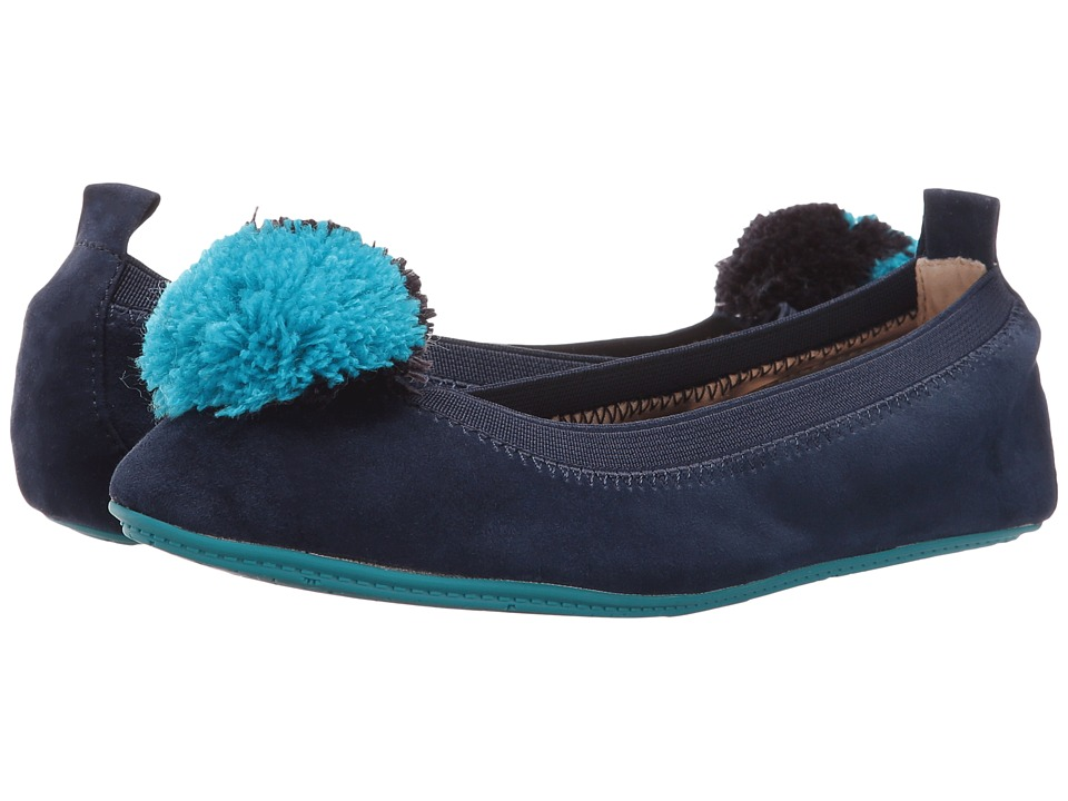 Yosi Samra Kids - Sammie Kid Suede Flat (Toddler/Little Kid/Big Kid) (Indigo/Two-Tone Pompom) Girls Shoes