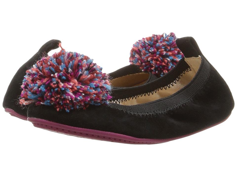 Yosi Samra Kids Sammie Kid Suede Flat (Toddler/Little Kid/Big Kid) (Black/Multicolor Pompom) Girls Shoes