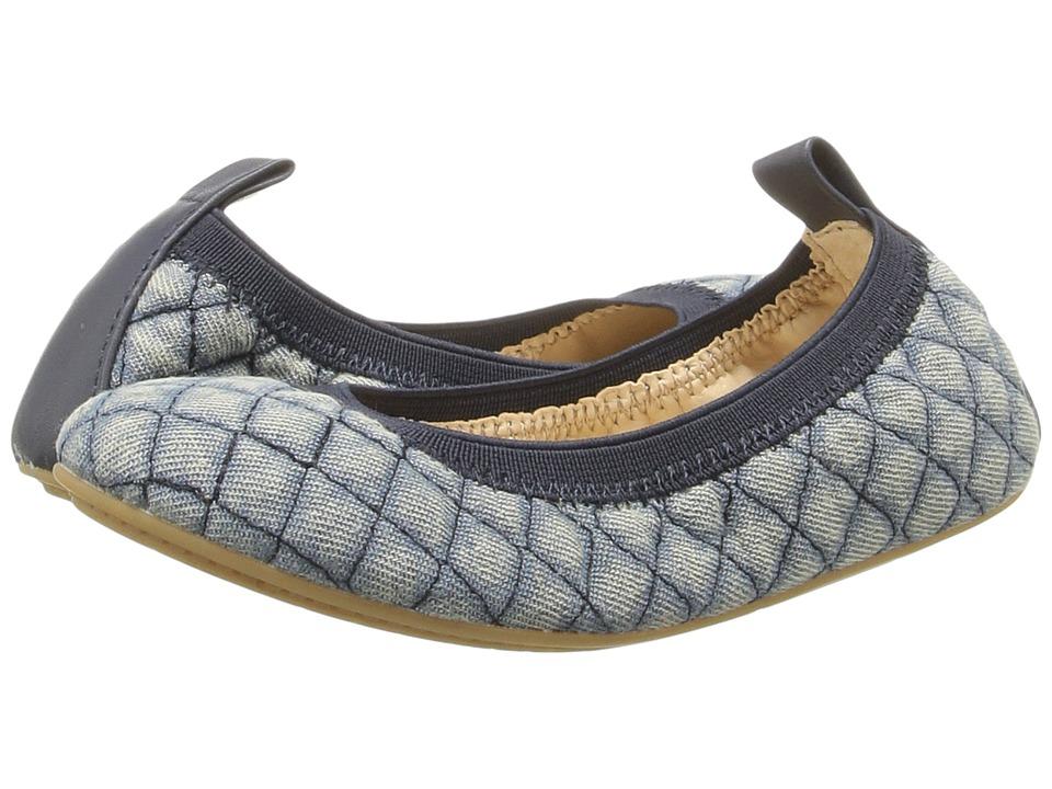 Yosi Samra Kids Sammie Quilted Denim/Alsina Leather Flat (Toddler/Little Kid/Big Kid) (Stone Wash) Girls Shoes