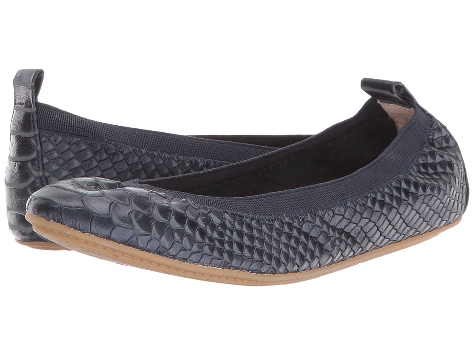 Yosi Samra Kids - Sammie Frosted Python Embossed Leather Flat (Toddler/Little Kid/Big Kid) (Sapphire) Girls Shoes