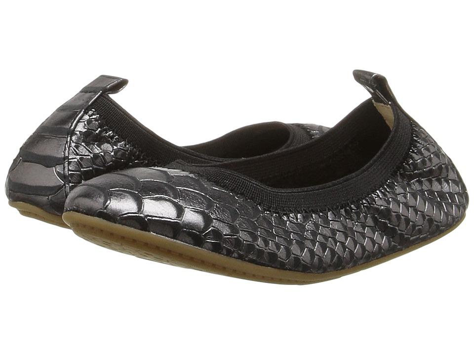 Yosi Samra Kids Sammie Frosted Python Embossed Leather Flat (Toddler/Little Kid/Big Kid) (Black) Girls Shoes