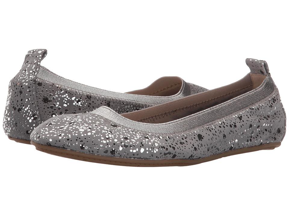 Yosi Samra Kids Sammie Paint Dripped Leather Flat (Toddler/Little Kid/Big Kid) (Smoke) Girls Shoes