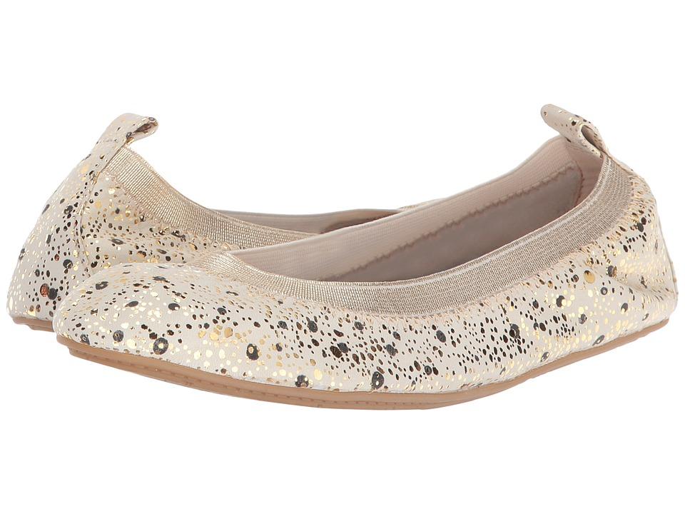 Yosi Samra Kids Sammie Paint Dripped Leather Flat (Toddler/Little Kid/Big Kid) (Biscotti) Girls Shoes