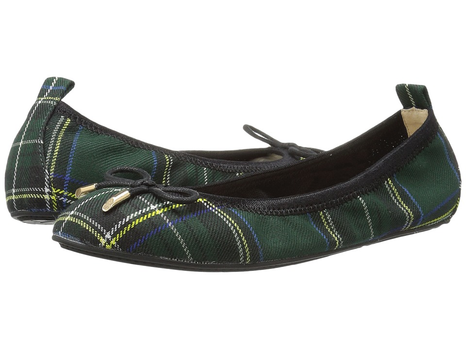 Yosi Samra Kids - Sawyer Plaid Tartan Microfiber Leather Ballet Flat (Toddler/Little Kid/Big Kid) (English Green) Girls Shoes