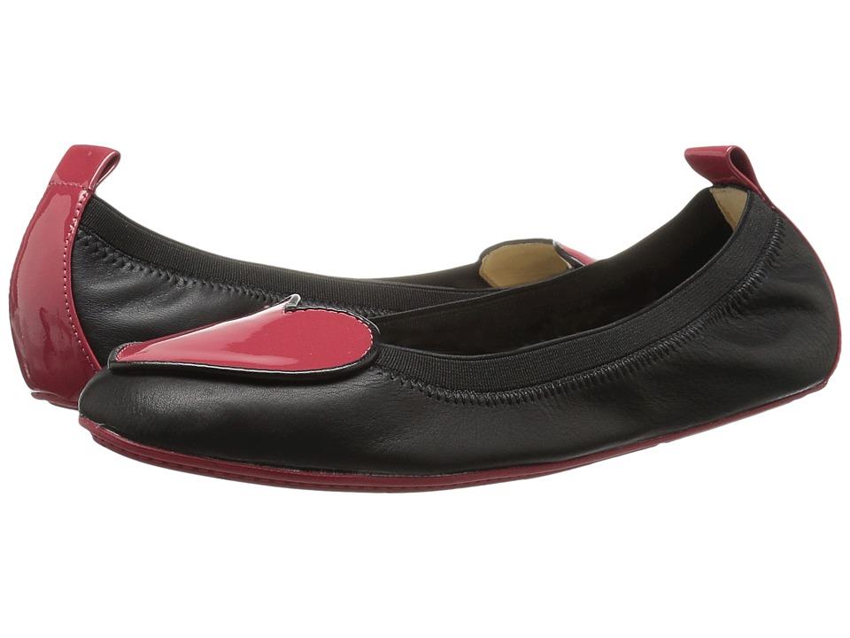 Yosi Samra Kids - Suri Alsina/Soft Patent Leather Ballet Flat (Toddler/Little Kid/Big Kid) (Black/Garnet Red) Girls Shoes