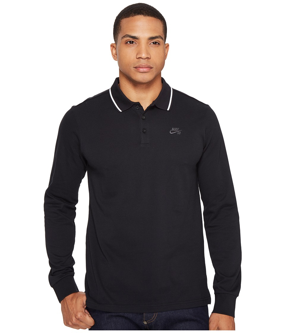 Nike SB - SB Dri-FIT Pique Long Sleeve Polo (Black/Anthracite) Men's Long Sleeve Pullover