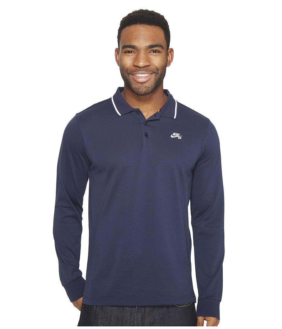 Nike SB - SB Dri-FIT Pique Long Sleeve Polo (Obsidian/White) Men's Long Sleeve Pullover