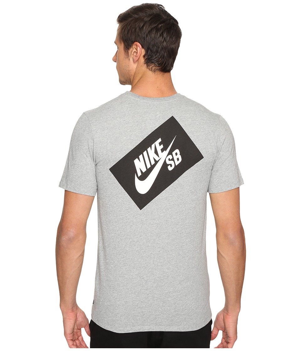Nike SB - SB Box T-Shirt (Dark Grey Heather/Dark Grey Heather/White) Men's T Shirt