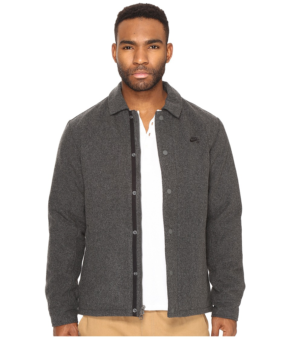 Nike SB - SB Wool Coaches Jacket (Charcoal Heather/Black) Men's Coat