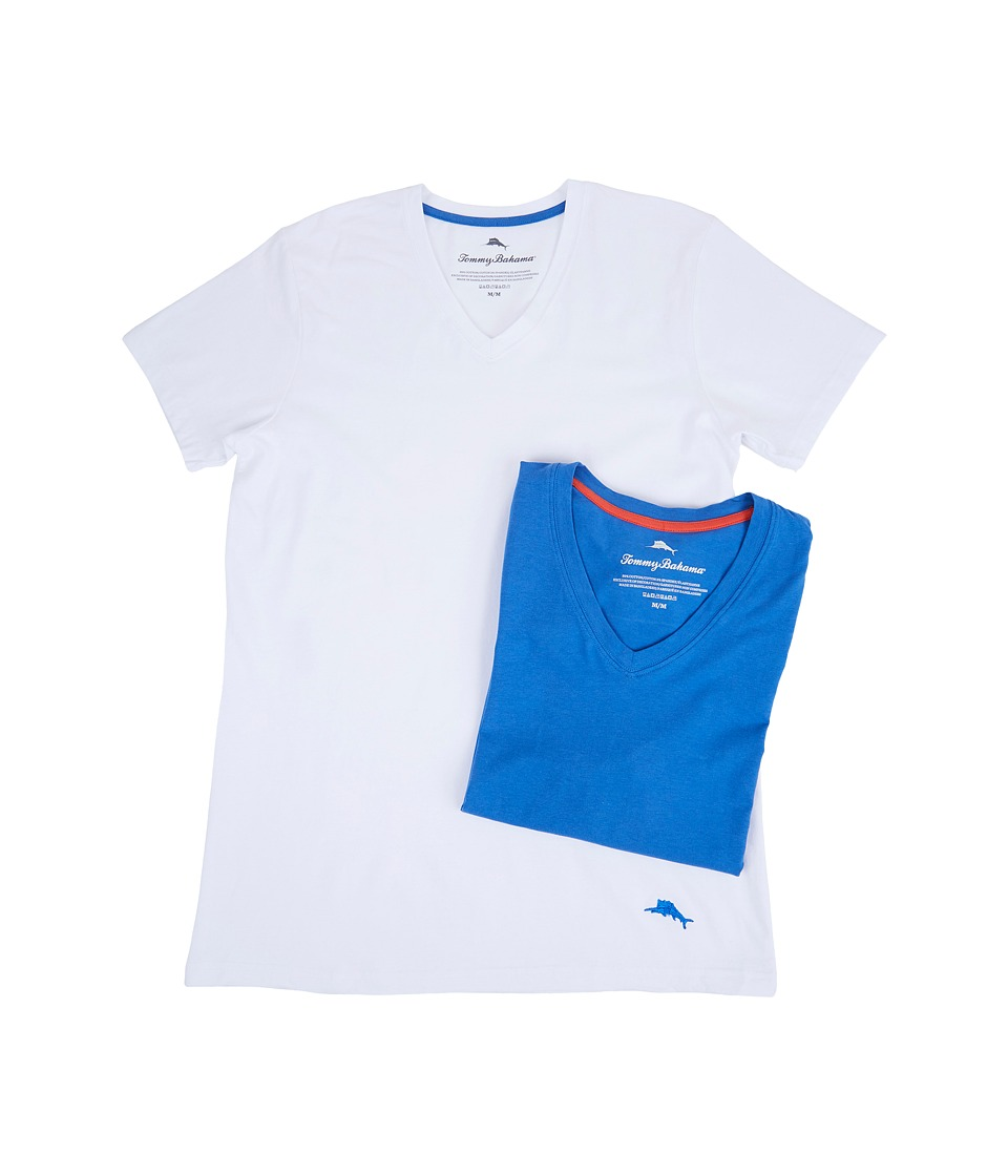 Tommy Bahama - Solid Stretch Cotton Comfort V-Neck T-Shirt 2-Pack (White/Royal Blue) Men's T Shirt