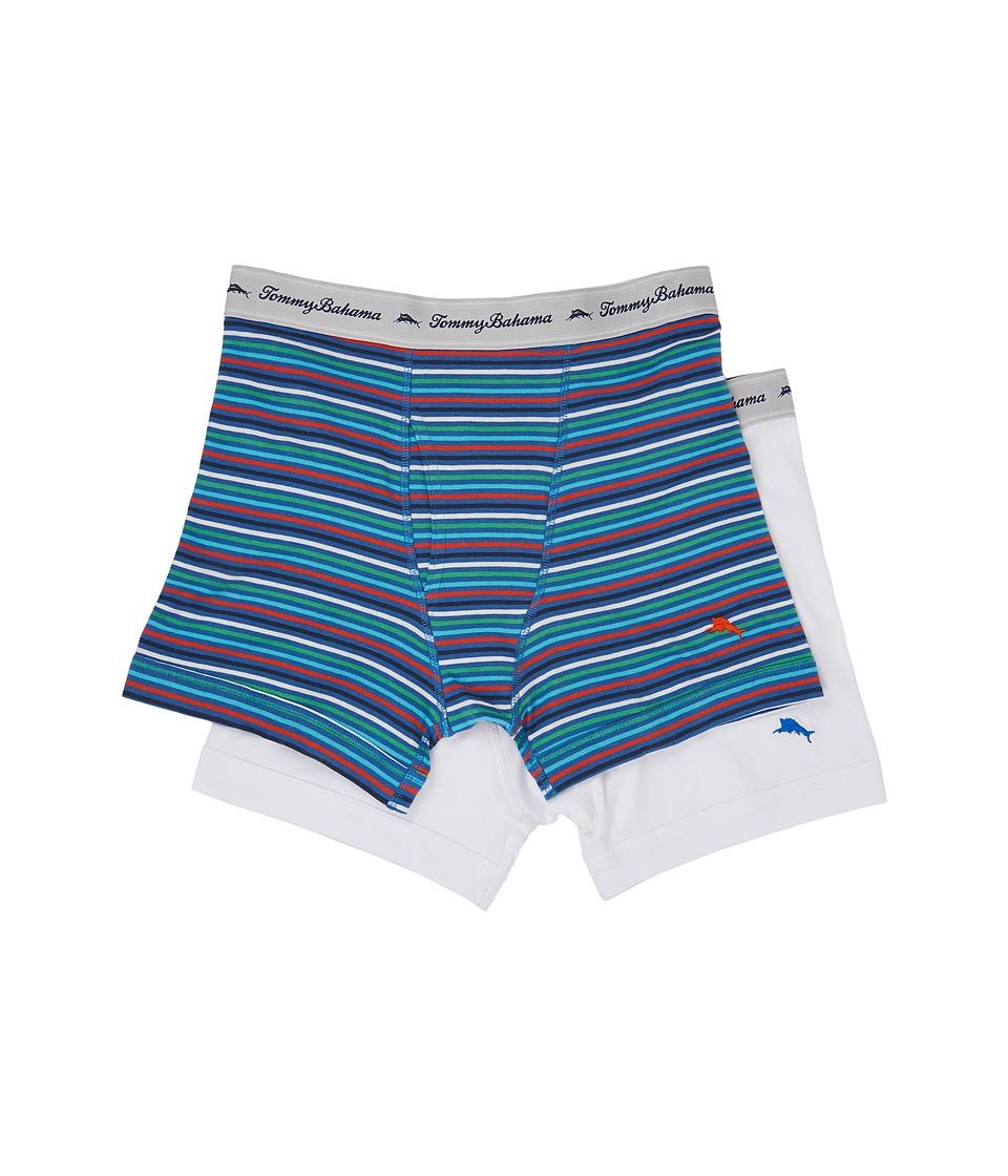 Tommy Bahama - Stripe Stretch Cotton Comfort Boxer Briefs 2-Pack (Blue Multi/Stripe/White) Men's Underwear