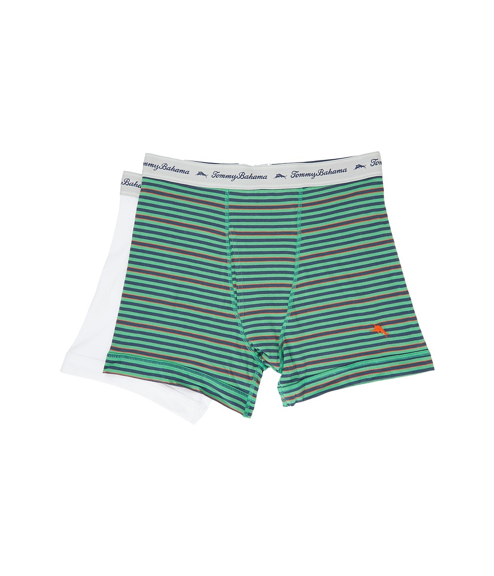 Tommy Bahama - Stripe Stretch Cotton Comfort Boxer Briefs 2-Pack (Green Multi/Stripe/White) Men's Underwear
