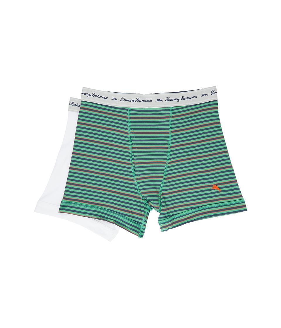 Tommy Bahama - Stripe Stretch Cotton Comfort Boxer Briefs 2-Pack (Green Multi/Stripe/White) Men's Underwear