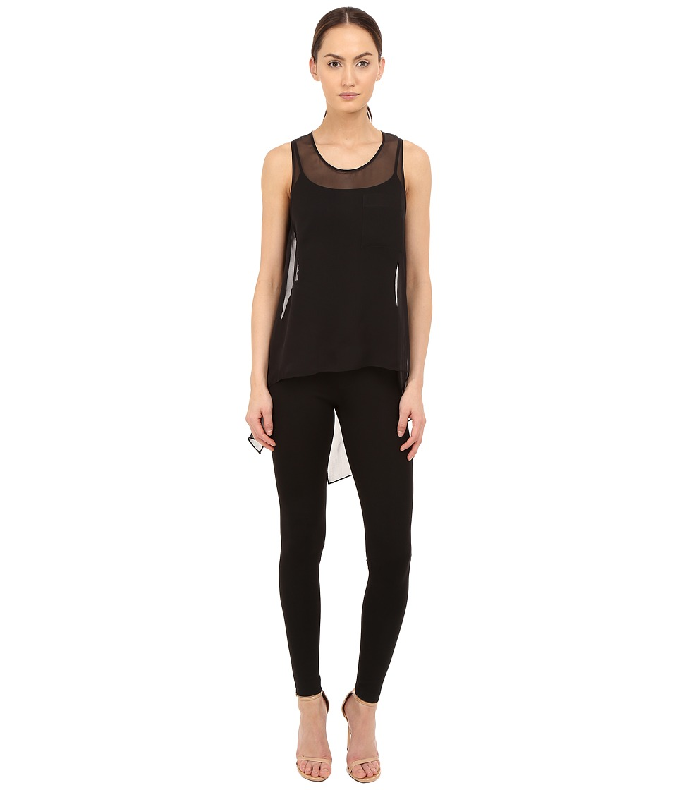 THOMAS WYLDE - Brit Silk Chiffon High-Low Tank Top (Black) Women's Sleeveless