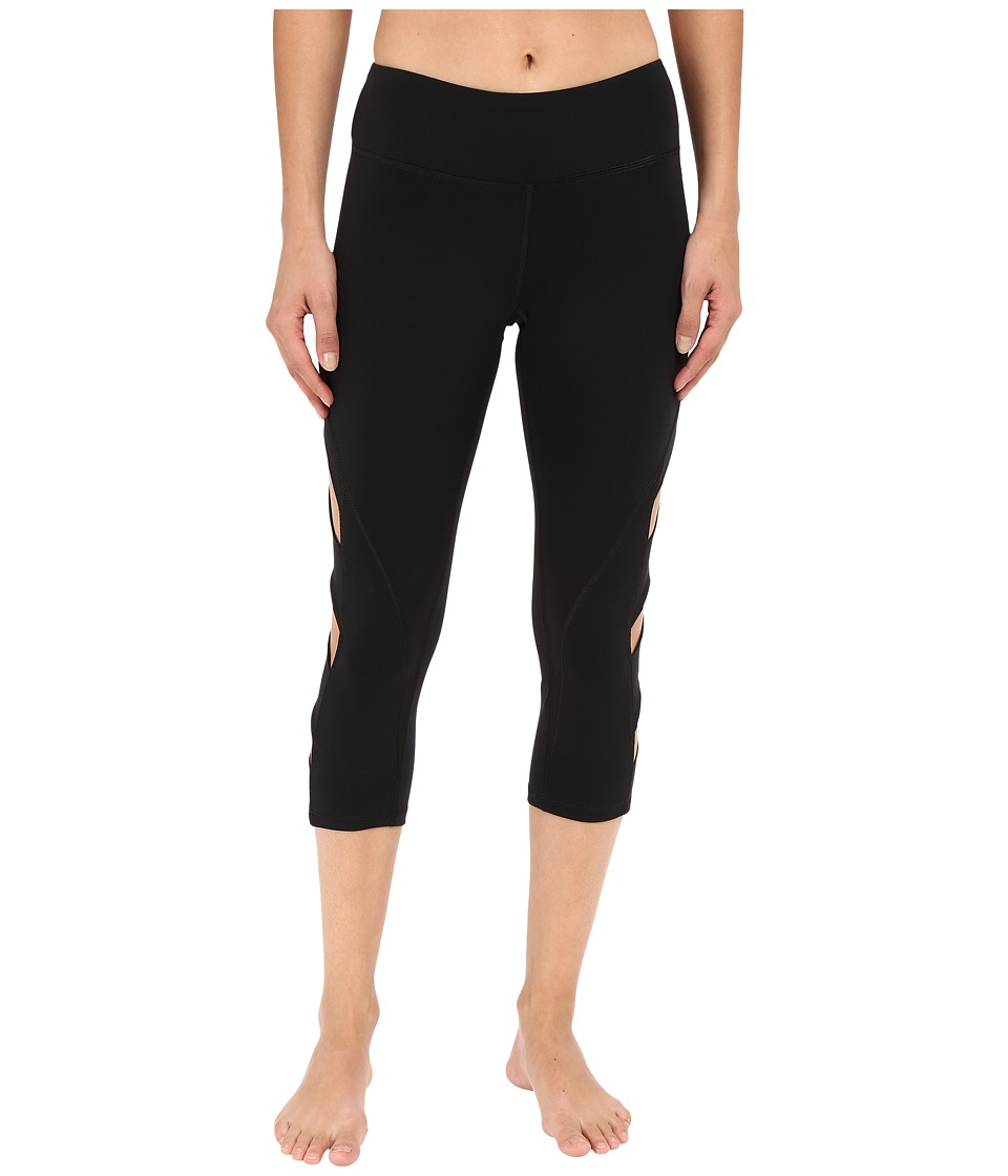 Pink Lotus - Keep It on Time Attitude Solid Performance Capris (Black) Women's Capri
