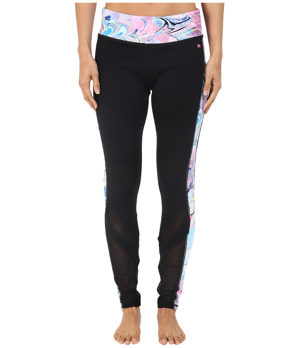 Pink Lotus - Cardio Crush Warrior Spliced Printed Peformance Leggings w/ Mesh Insets (Black) Women's Casual Pants