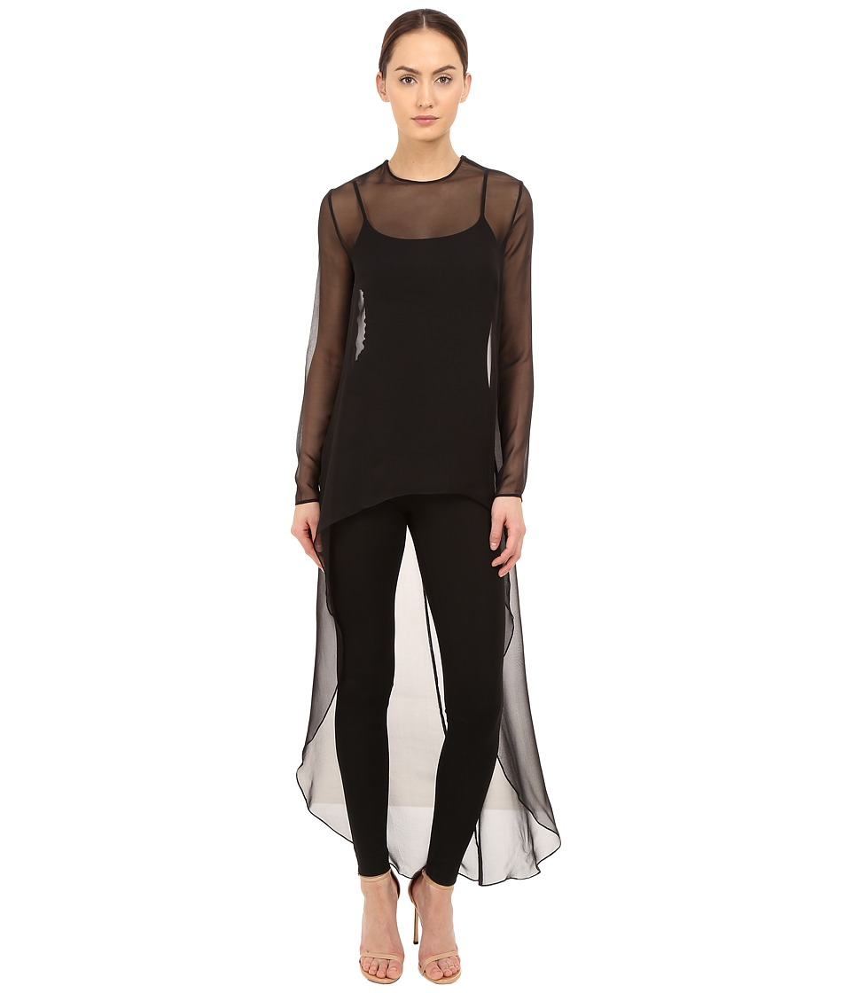 THOMAS WYLDE - Claudia Solid High-Low Top (Black) Women's Blouse