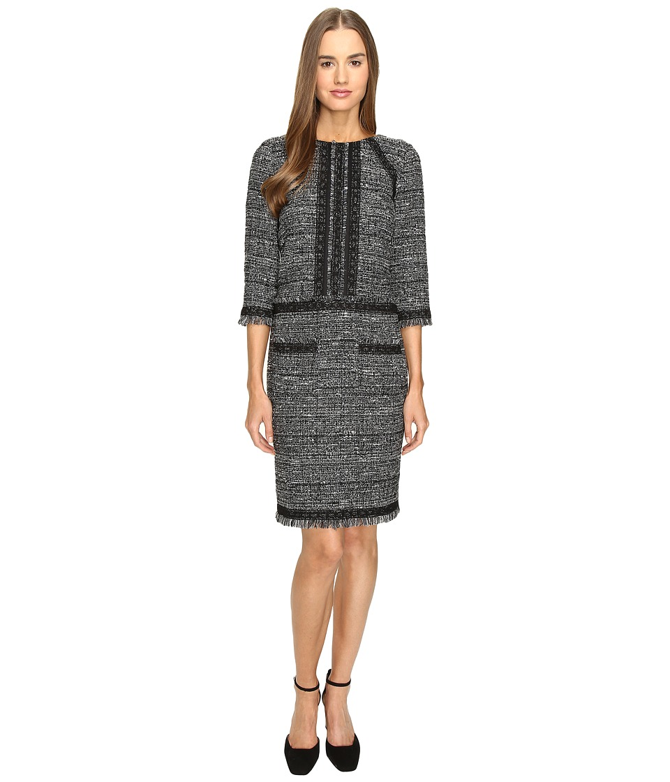 Alberta Ferretti Tweed 3/4 Sleeve Dress (Black) Women