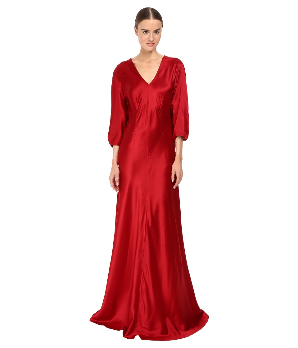 Alberta Ferretti 3/4 Sleeve V-Neck Satin Gown (Ruby) Women