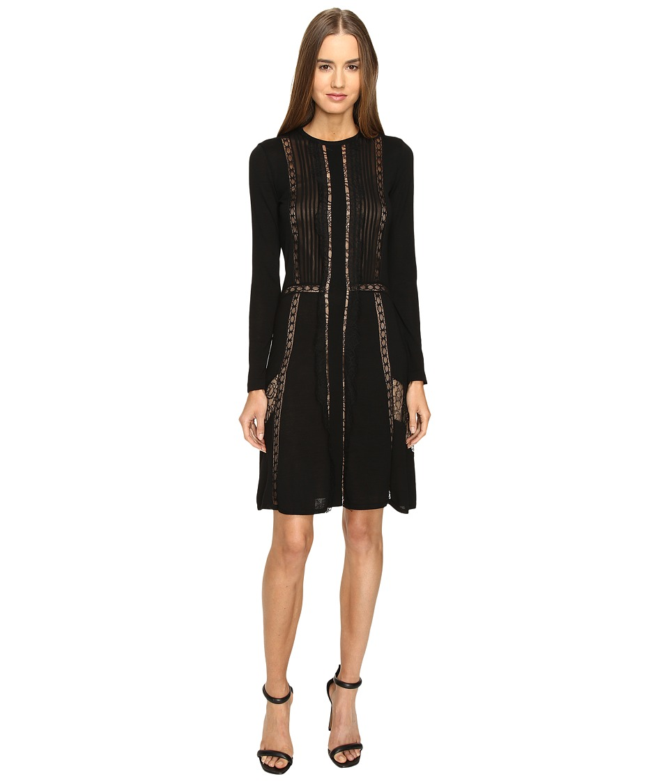 Alberta Ferretti - Long Sleeve Sheer Lines Dress (Black) Women's Dress