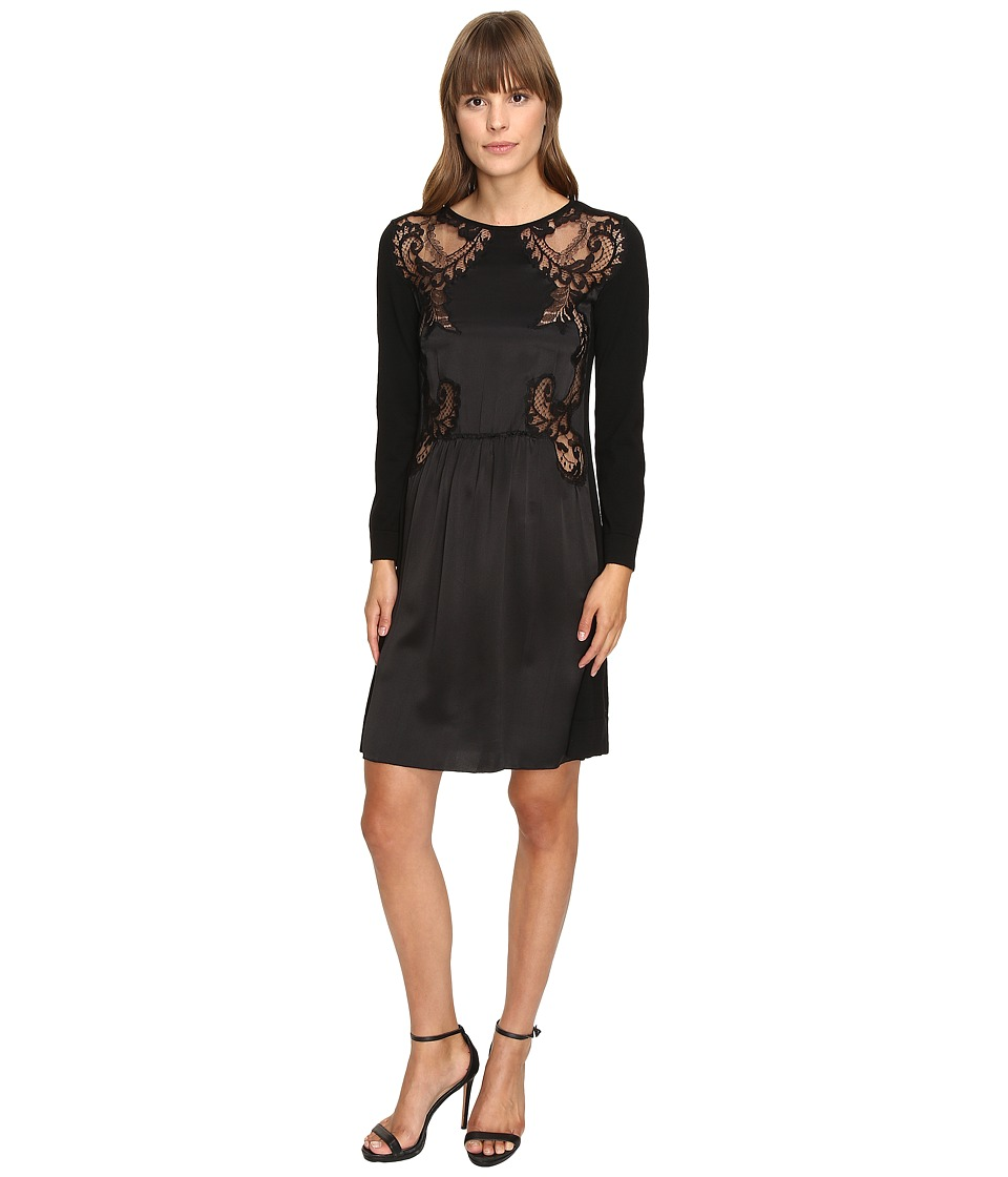 Alberta Ferretti 3/4 Sleeve Satin Dress (Black) Women